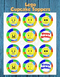 Lego Cupcake Toppers/ Lego Head Cupcake Toppers