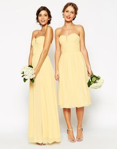 ASOS WEDDING Ruched Bodice Bandeau Midi Dress at ASOS. Yellow Bridesmaid Dresses, Affordable Bridesmaid Dresses, Bridesmaid Outfit, Wedding Bridesmaids, Prom Dresses, Wedding Robe, Asos Wedding, Wedding Attire, Wedding Gowns