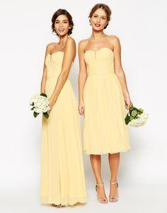 Robe mariage jaune pastel