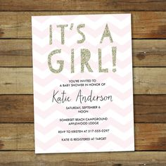 Gold and pink glitter baby shower invitation