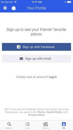 FourSquare profile/sign up