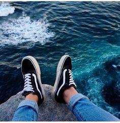 Image via We Heart It #black #fashion #sea #shoes #vans
