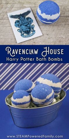 Embrace the magic with these homemade Harry Potter Bath Bombs inspired by the Hogwarts house, Ravenclaw! Includes a potions (bath bomb science) lesson for your young witch or wizard. Learn the chemistry behind the fizz of bath bombs and show your pride in being Ravenclaw - wit, wisdom and learning! #HarryPotter #BathBombs