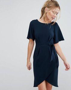 Closet London tie front dress with kimono sleeve in navy