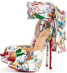 Christian Louboutin's 'Jersey Vamp' Graffiti-Printed Scarf Sandals