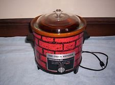 collectible vintage electric slow cooker, clean Love the red brick motif, very