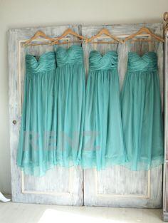 2015 Teal Bridesmaid dress, Sweetheart Strapless Wedding dress, Long Chiffon Evening gown, Party dress, Elegant dress floor length (B010E)