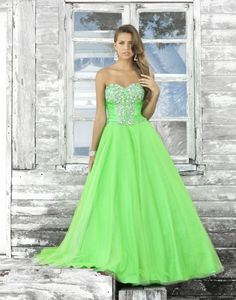 Green Beaded Prom Dress with a Sweetheart Neckline - Lime Evening ...