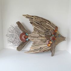 Driftwood Art Sculpture Fish Angelfish Shells by SandisShellscapes. Etsy.com  $150.00