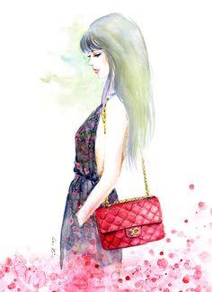 Watercolor Fashion illustration print -  Chanel Red Handbag. $20.00, via Etsy.