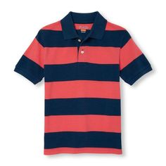 s Boys Short Sleeve Rugby Stripe Pique Polo - Pink - The Children's Place