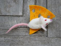 Cute little mouse on cheese felted brooch felt by filcAlki on Etsy