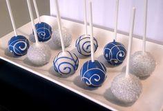 Cake Pops - White and Blue Cake Pops for Wedding Favors, Birthday, Baby Boy Shower, Bridal Shower, Winter. $21.95, via Etsy.