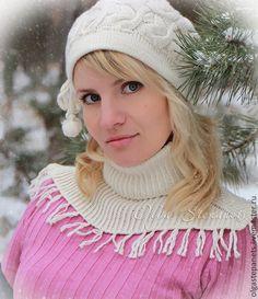 Кашемировая шапочка и снуд спицами #шапочка #снуд #knitting #cap #beanie