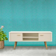 scandinavian style wide tv cabinet with oak and white finish