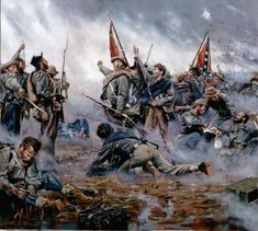 """""""Bonnie Blue Flag"""" by Don Troiani. At the battle of Spotsylvania, May 12 1864, Brig. Gen. Stephen Dodson Ramseur's North Carolina brigade struggles to hold back the massive breakthrough by the II Corps. At the critical moment private Tisdale Stepp of the 4th North Carolina burst out with the song """"The Bonnie Blue Flag"""" which was taken up and down the line. The flags of the 4th and 14th North Carolina were side by side at this moment while Gen. Ramseur has his wound treated."""