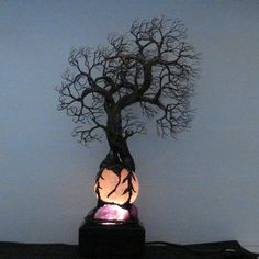 Full Moon rising Rose Quartz Sphere wire Tree Of von CrowsFeathers
