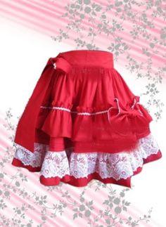 Hot Red Ruffled Cotton Lolita Skirt in Low Price, ocrun.com