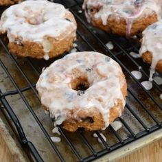 Warm cake doughnuts packed with plump blueberries and dripping in a lemon glaze! Bet you can't eat just one!