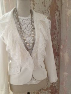 Up cycled jacket with vintage lace and more. on Etsy, $125.00