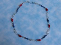 Patriotic Stone Chip Necklace by BazaarCharlotte on Etsy, $25.00