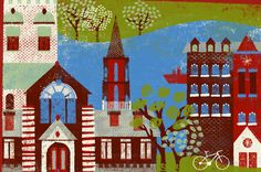 An illustration of Burlington, Vermont, by Nina Goffi, featured in City Guides.