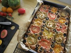 Tomato and chive focaccia — HOWARD MIDDLETON Gbbo, British Bake Off, Gluten Free, Beef, Baking, Vegetables, Lovely Things, Breads, Recipes