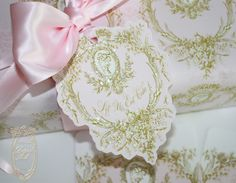 la pink paperie The blog for Paper Nosh: Luscious Marie Antoinette Pink and Gold Silhouette Invitations, Tags and New Gift Wrap