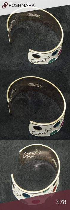 """Coach Bangle Bracelet stamped 925 Coach Bangle Bracelet.  Gold tone finish on top of sterling silver.  Stamped 925, and also stamped with Coach insignia: """"COACH"""" and """"1941"""".  Substantial amount of silver - 51 grams.  1 inch in height. Oval shape.  Used item: any wear shown in pictures.  Some of the enamel finish has chipped away on the exterior of the bracelet. Close ups provided.  Bundle Up!  Offers always welcome : ) Coach Jewelry Bracelets"""