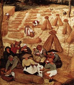 Detail from the Harvesters.  Note that the woman on the left is wearing a hat which is both straw AND black.  Hmmm.  Maybe the potlid hats are straw.