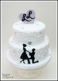 Marry Me ? black and white cake Black And White Wedding Cake, White Wedding Cakes, Wedding Cupcakes, Fondant Cakes, Cupcake Cakes, Eiffel Tower Cake, Wedding Shower Cakes, Silhouette Cake, Cake Logo