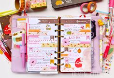 Planners Ideas and Accessories     Squirrel and Pink - 4 Week January