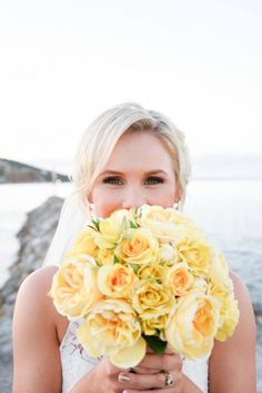 Tegan and Marty's Divine Oceanview Wedding, with its beautiful colour pop of yellow, was a divine day full of laughter and love! Corsage Wedding, Flower Bouquet Wedding, Yellow Wedding, Floral Wedding, Wedding Centerpieces, Pantone, Florals, Wedding Ideas, Bridal