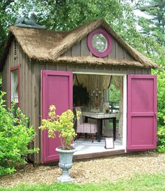 """Today I am sharing with you, twenty-two of my favorite outdoor sanctuaries from pinterest . These """"she sheds"""" are the female equiv..."""