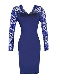 Celeb Long Sleeve Floral Lace Midi Evening Party Dress Blue - Google Search