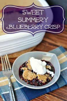 Blueberry Crisp with homemade whipped cream