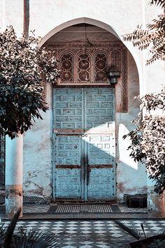 Wonder what's behind these beautiful blue doors?