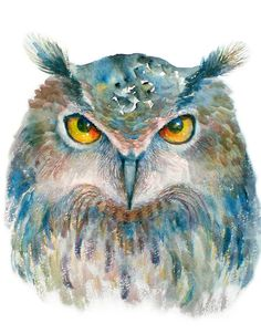 Owl  Print of Original Mixed Media Painting  by oxanabasil on Etsy, $25.00