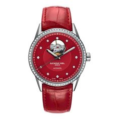 Raymond Weil Freelancer Red Dial Leather Strap Diamond Automatic... ($1,349) ❤ liked on Polyvore featuring jewelry, watches, diamond jewellery, raymond weil watches, red diamond jewelry, diamond dial watches and analog wrist watch
