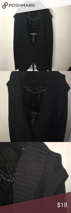 Black knit long sleeved sweater Black knit long sleeved sweater with one snap button and two functional pockets. Only worn once. Guess Sweaters Cardigans