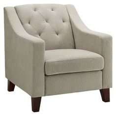 Tufted Upholstered Arm Chair - Taupe