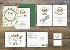 Watercolour Floral - Wedding stationery set by www.pip-designs.co.uk
