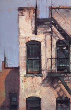 Jill Soukup, Black Windows and Fire Escape, oil, 36 x 24.