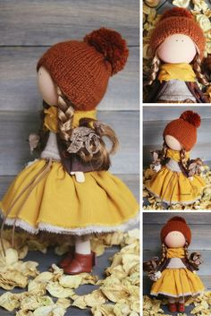 Soft doll Handmade yellow red Baby doll Tilda doll Cloth doll Art doll Fabric…