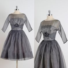 Gunmetal Luxe . vintage 1950s  dress . gray organza dress . 4771