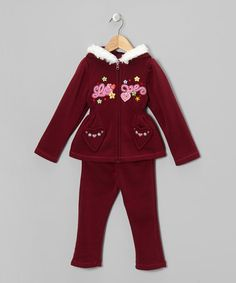 Take a look at this Maroon Love Zip-Up Hoodie & Pants - Toddler & Girls by Unik on #zulily today!