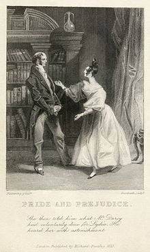 "One of the first two published illustrations of Pride and Prejudice, from the Richard Bentley edition. Caption reads: ""She then told him [Mr Bennett] what Mr Darcy had voluntarily done for Lydia. He heard her with astonishment."""