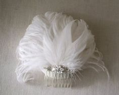 millie - art deco bridal wedding headpiece comb with vintage rhinestone flower and white ostrich feathers old hollywood 40's 50's 20's