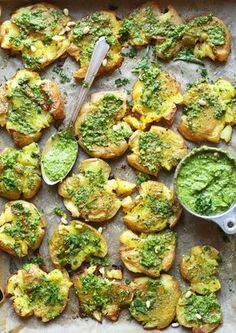 Smashed Potatoes with Garlic Herb Pesto #vegan #glutenfree #potato