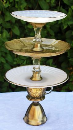 Milk Glass & Gold ThreeTier Vintage Reclaimed by RedEggBoutique, $58.00